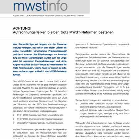 MWST-Info August 2008